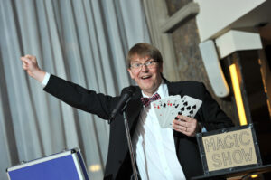 Stephen Fayle with his magic tricks